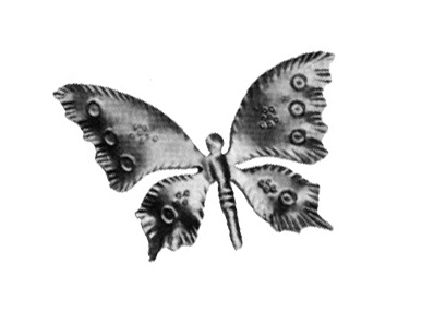 "DE137-9 Stamped Steel Butterfly 2-9/16"" x 4-5/16"""