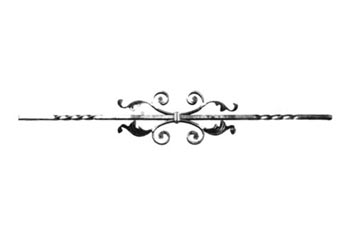 "PK52-A-3 Scroll with Leaves Picket 36-7/16""L"